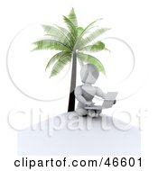 3d White Character With A Laptop Under A Palm Tree