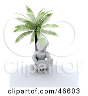 3d White Character Using A Laptop While Sitting Under A Palm Tree