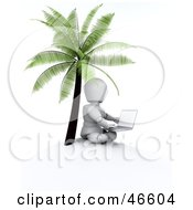 3d White Character Seated With A Laptop Under A Palm Tree