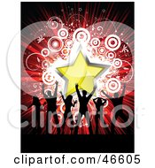 Royalty Free RF Clipart Illustration Of Silhouetted Party Dancers On A Bursting Red Star And Circle Background