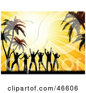 Royalty Free RF Clipart Illustration Of A Summer Beach Party With Silhouetted Dancers Under Palm Trees At Sunset