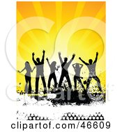 Royalty Free RF Clipart Illustration Of A Group Of Silhouetted People Dancing At A Summer Party On A Grunge Floor