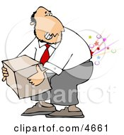 Clipart Picture Of A Businessman Cracking And Injuring His Lower Back While Lifting A Heavy Box The Wrong Way Illustration by Dennis Cox