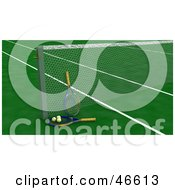 Royalty Free RF Clipart Illustration Of Tennis Rackets And Balls Against The Net On A Green Court by KJ Pargeter