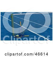 Royalty Free RF Clipart Illustration Of Tennis Rackets And Balls Against The Net On A Blue Court by KJ Pargeter
