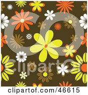 Royalty Free RF Clipart Illustration Of A Funky Orange Yellow And Brown Retro Floral Background
