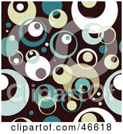 Royalty Free RF Clipart Illustration Of A Retro Styled Teal Beige And White Circle Background On Brown by KJ Pargeter