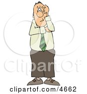 Perplexed Businessman Thinking About Something Clipart