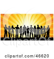 Royalty Free RF Clipart Illustration Of A Group Of Silhouetted Adults Against An Orange Sunset by KJ Pargeter