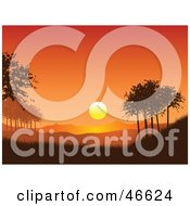 Royalty Free RF Clipart Illustration Of A Beautiful Orange Sunset Over Mountains And Trees In A Park