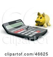 Royalty Free RF Clipart Illustration Of A Golden Piggy Bank Looking At A Giant Calculator by KJ Pargeter