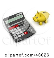 Royalty Free RF Clipart Illustration Of A Golden Piggy Bank Facing A Giant Calculator by KJ Pargeter