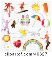 Royalty Free RF Clipart Illustration Of A Digital Collage Of Sticker Styled Summer Icons
