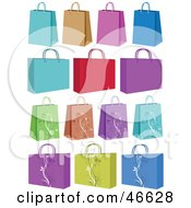 Royalty Free RF Clipart Illustration Of A Digital Collage Of Colorful Small And Medium Sized Shopping Or Gift Bags