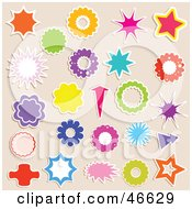 Digital Collage Of Sticker Styled Bursts And Flowers