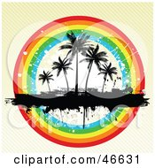 Royalty Free RF Clipart Illustration Of A Grunge Textured Background With Silhouetted Palm Trees In A Rainbow Circle by KJ Pargeter