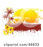 Grungy Orange And Red Palm Tree And Hibiscus Background On White