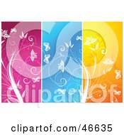 Royalty Free RF Clipart Illustration Of A Background Of Pink Blue And Orange Floral Panels by KJ Pargeter