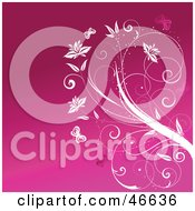 Poster, Art Print Of Pink Background With White Butterflies And A Flowering Plant
