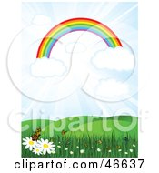 Royalty Free RF Clipart Illustration Of A Rainbow On Clouds In A Sunny Sky Over A Meadow With Butterflies And Flowers by KJ Pargeter