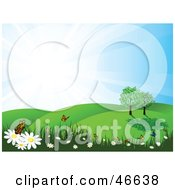 Royalty Free RF Clipart Illustration Of A Summer Nature Scene Of Butterflies On Flowers In A Meadow by KJ Pargeter