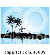 Royalty Free RF Clipart Illustration Of A Silhouetted Surfer Dude Carrying His Board Under Trees On A Bursting Blue Background by KJ Pargeter