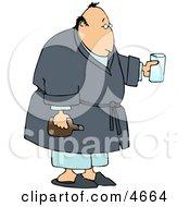 Sick Man Holding Medicine Clipart