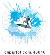 Royalty Free RF Clipart Illustration Of A Silhouetted Surfer Dude On A Blue Splatter Background by KJ Pargeter