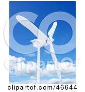 Royalty Free RF Clipart Illustration Of A White 3d Wind Turbine Against A Blue Sky With Clouds by KJ Pargeter
