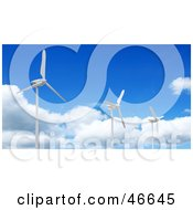 Royalty Free RF Clipart Illustration Of Three 3d Turbine Generators At A Wind Farm Against A Blue Sky by KJ Pargeter