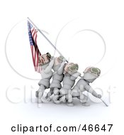 Royalty Free RF Clipart Illustration Of 3d White Characters Raising The American Flag After A Battle by KJ Pargeter