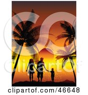Royalty Free RF Clipart Illustration Of A Silhouetted Family Of Three Watching A Tropical Sunset On Vacation by KJ Pargeter