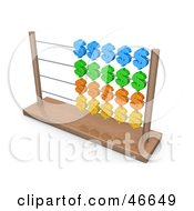 Royalty Free RF Clipart Illustration Of A Wooden Abacus With Colorful Dollar Symbols