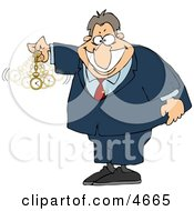 Expert In Hypnotism Waving A Clock Back And Forth Clipart