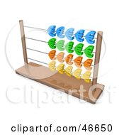 Royalty Free RF Clipart Illustration Of A Wooden Abacus With Colorful Euro Symbols