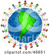 Royalty Free RF Clipart Illustration Of Children Holding Hands And Dancing Around The Globe Featuring Colombia