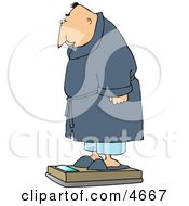 Overweight Man Measuring His Weight On A Standard Bathroom Scale Clipart
