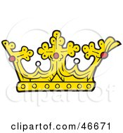 Golden Kings Crown With Crosses Pearls And Rubies