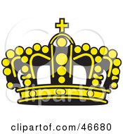 Yellow Beaded Kings Crown With A Black Base