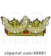 Royal Gold Kings Crown With Rubies