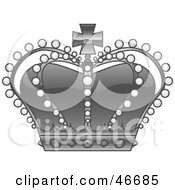 Beaded Gray Royal Kings Crown With Jewels