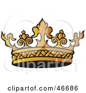 Clipart Illustration Of An Intricate Gold Kings Crown