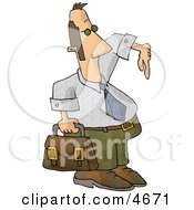 Homie G Businessman Carrying A Briefcase And Gesturing Wazzup With His Hand