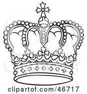 Clipart Illustration Of A Rounded And Jeweled Black And White Crown by dero #COLLC46717-0053