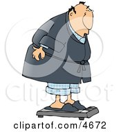 Fat Man Weighing Himself On A Standard Bathroom Scale Clipart