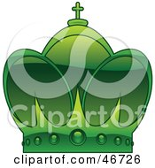 Clipart Illustration Of A Green Arched Kings Crown With A Cross