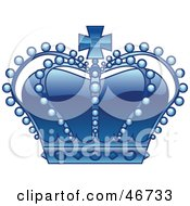 Clipart Illustration Of A Beaded Blue Royal Kings Crown With Jewels