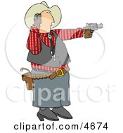 Cowboy Covering His Ear While Shooting A Loud Gun