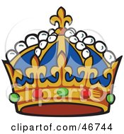 Clipart Illustration Of A Blue And Gold Kings Crown With Pearl Ruby And Emerald Gems