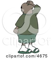 Male Tourist Looking Up At Something Clipart
